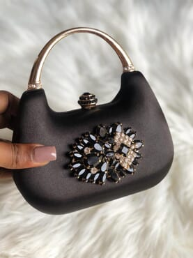 Nissiratti black crystal clutch purse
