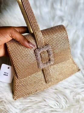 Nissiratti rose gold stone clutch purse
