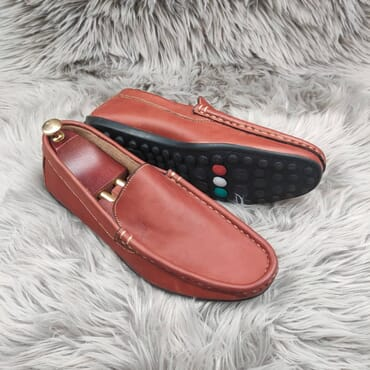 Wine Slip on Leather Penny Loafers.