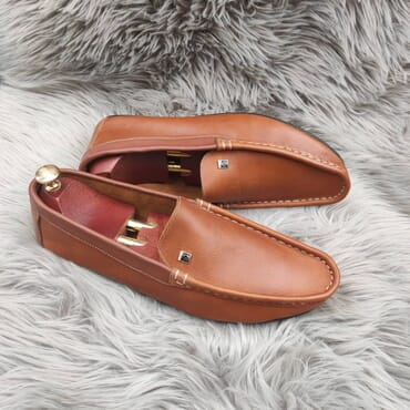 Brown Slip on Leather Penny Loafers