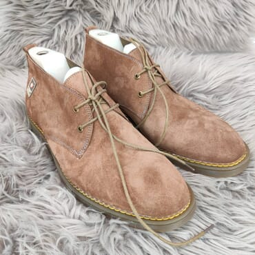 Affordable suede chukka dress boots.