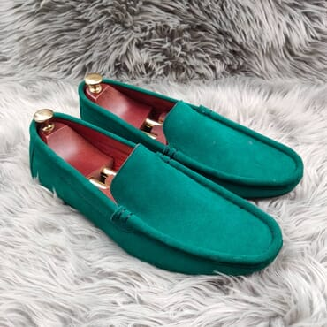Green Slip on Suede Penny Loafers