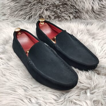 Black Slip on Suede Penny Loafers.