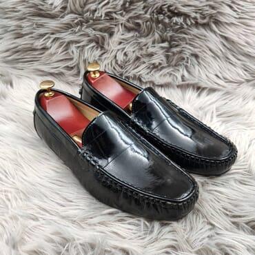 Black leather Slip on Loafers