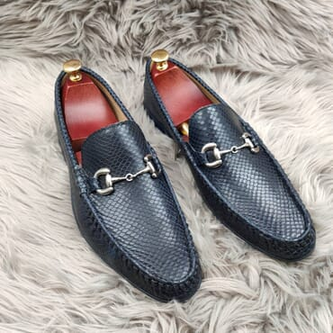 Blue Leather Slip On Bit Loafers