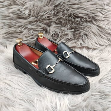 Black Slip On Gold Buckled Bit Loafers