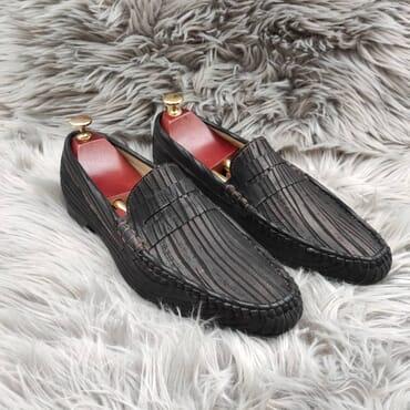 Dark Grey Slip On Bit Loafers