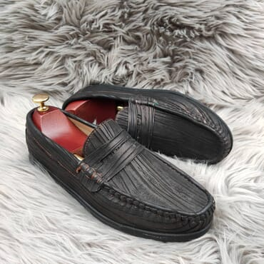 Dark Grey Slip On Bit Loafers