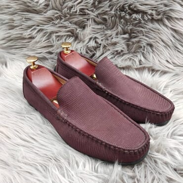 Burgundy Suede Slip On Bit Loafers