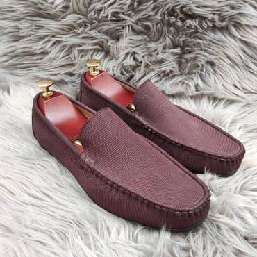 Burgundy Suede Slip On Bit Loafers
