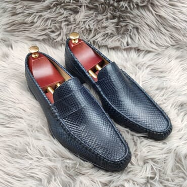 Blue Leather Slip on Bit Loafers