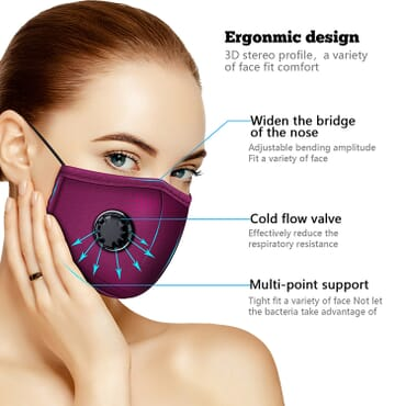 Ergonomic design Face Mask with Valve