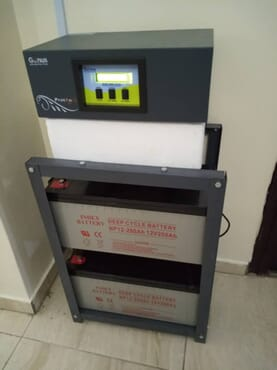 Genus 2KVA/24V inverter / 2 UNITS 24V 200AH BATTERY/ BATTERY RACK / INSTALLATION