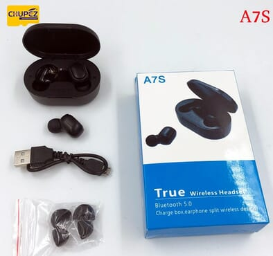 A7S Bluetooth 5.0 wireless headset touch control 9D stereo Bluetooth sports headset - Black