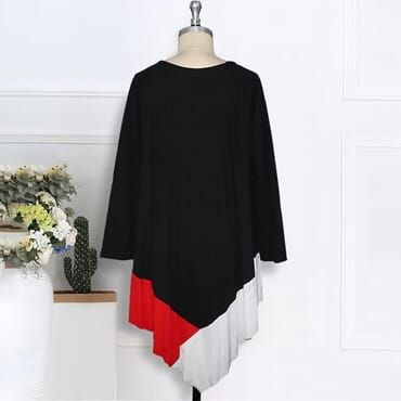 Women Loose Pleated Dresses Long Sleeves