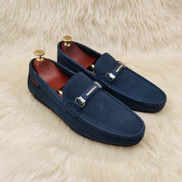 Blue leather loafers men's shoe