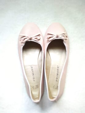 Primark Ladies Flat Leather Ballerina Pumps with Bow - Rosegold