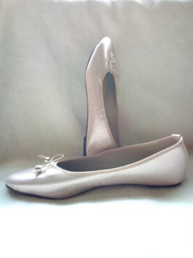 Primark Ladies Flat Leather Ballerina Pumps with Bow - Champagne