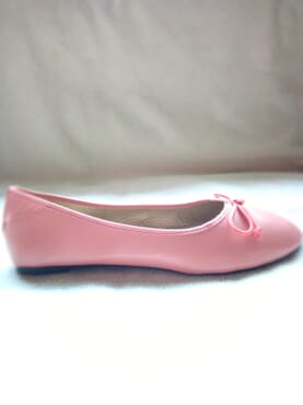 Primark Ladies Flat Leather Ballerina Pumps with Bow - Pink
