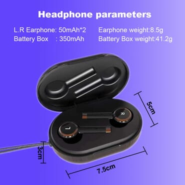 Wireless Earbuds Column In-Ear IPX5 Swaterproof Headset 3D Stereo HD Business Call Driving