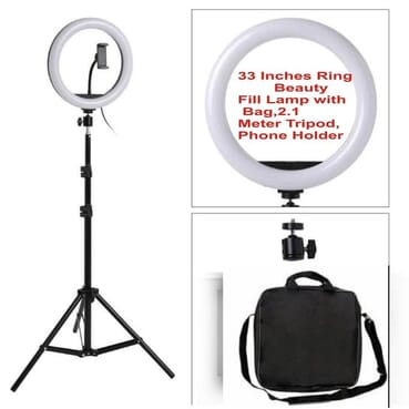 33 CM LED Ring Light Dimmable For DSLR/Camera/Smartphone/Youtube/Makeup With 2.1meter Tripod,Bag