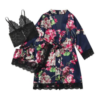 Long sleeve 3PC Women's Pajamas Sexy Lace Lingerie Nightwear