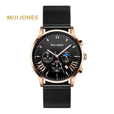 MIJI 1215  BLACK MESH CHRONOGRAPH WATCH