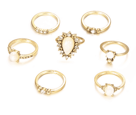 7 pcs party jewerly Knuckle Ring Set  for women