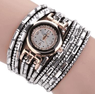 Silver wristwatch bracelet bangle for women