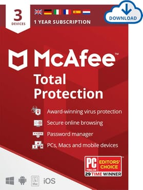 McAfee Total Protection 2020 | 3 Device | 1 Year | Antivirus Software, Internet Security, Password Manager, Mobile Security | PC/Mac/Android/iOS |European Edition| Download Code