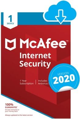 McAfee Internet Security 2020 | 1 Device | 1 Year | PC/Mac/Android/Smartphones | Download Code