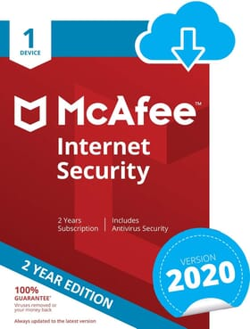 McAfee Internet Security 2020 | 1 Device | 2 Years | PC/Mac/Android | Download Code