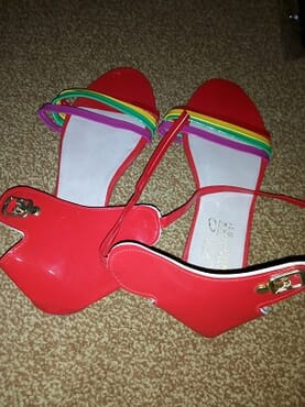 Multicolored designed female sandals-Size 40