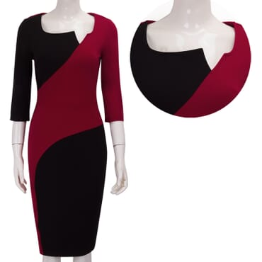 Multicolour Skew Dress - Red