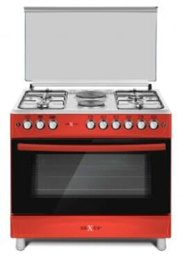 NEXUS GAS COOKER NX-9004 (4+2) -WINE RED/RED FINISHED