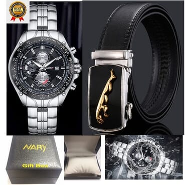 Nary 3 In 1 Package Of Calendar Men Chain Watch+ Men Designer Automatic Belt+Watch Gift Box