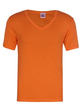 Plain Orange V-neck Polo T-shirt