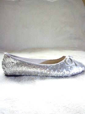 Primark Ladies Flat Sequin Ballerina Pumps with Bow - Silver
