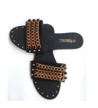 Black Leather Women Chain Slippers