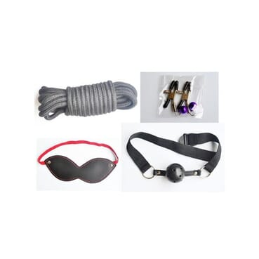 Sex Toy Leather Women Couple Fetish Bondage Restraint Kit With Handcuffs Whip Paddle Nipple Clamp Gag Rope.