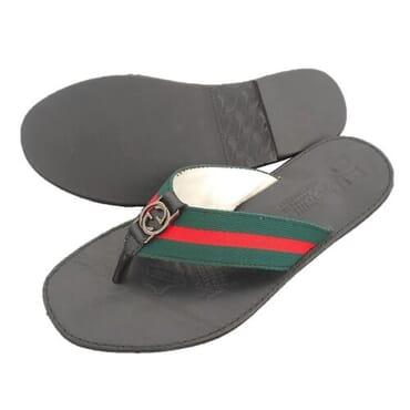 Nediva Men Green.Red Strap Leather Slippers - CS1