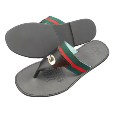 Nediva Men Green.Red Strap Leather Slippers - CS2