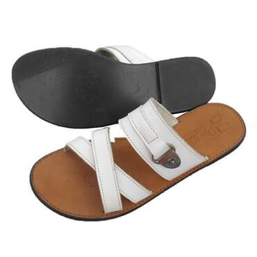 Nediva Men White Leather Slippers - PL11