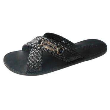 Nediva Men Black Leather Slippers - PL15