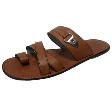 Nediva Men Toe Leather Slippers | Brown- PL17
