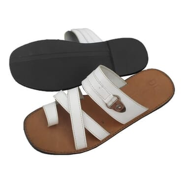 Nediva Men Toe Leather Slippers |White- PL3