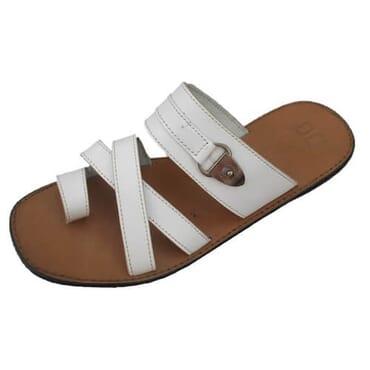 Nediva Men Toe Leather Slippers  White- PL3