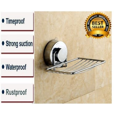 Tiles Powerful Suction Cup Bathroom Shower Soap Dish/ Rustproof Stainless