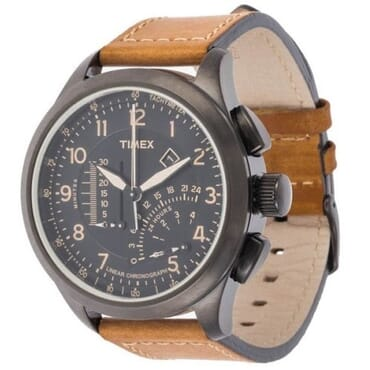 Timex Men's Intelligent Quarts Linear Chronograph Watch, Brown Leather