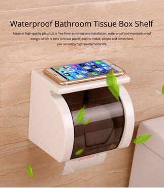 Bathroom Waterproof Toilet Tray Holder, Tissue Box Shelf, Punch-free Roll Holder